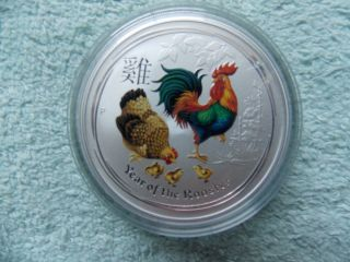 2017 Australian Silver Rooster Lunar Series Ii Colorized Bu 1 Oz Bu photo