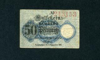Bamberg Stadt 50 Pfennig 1917 F Kleingeld Tieste 310.  1 photo