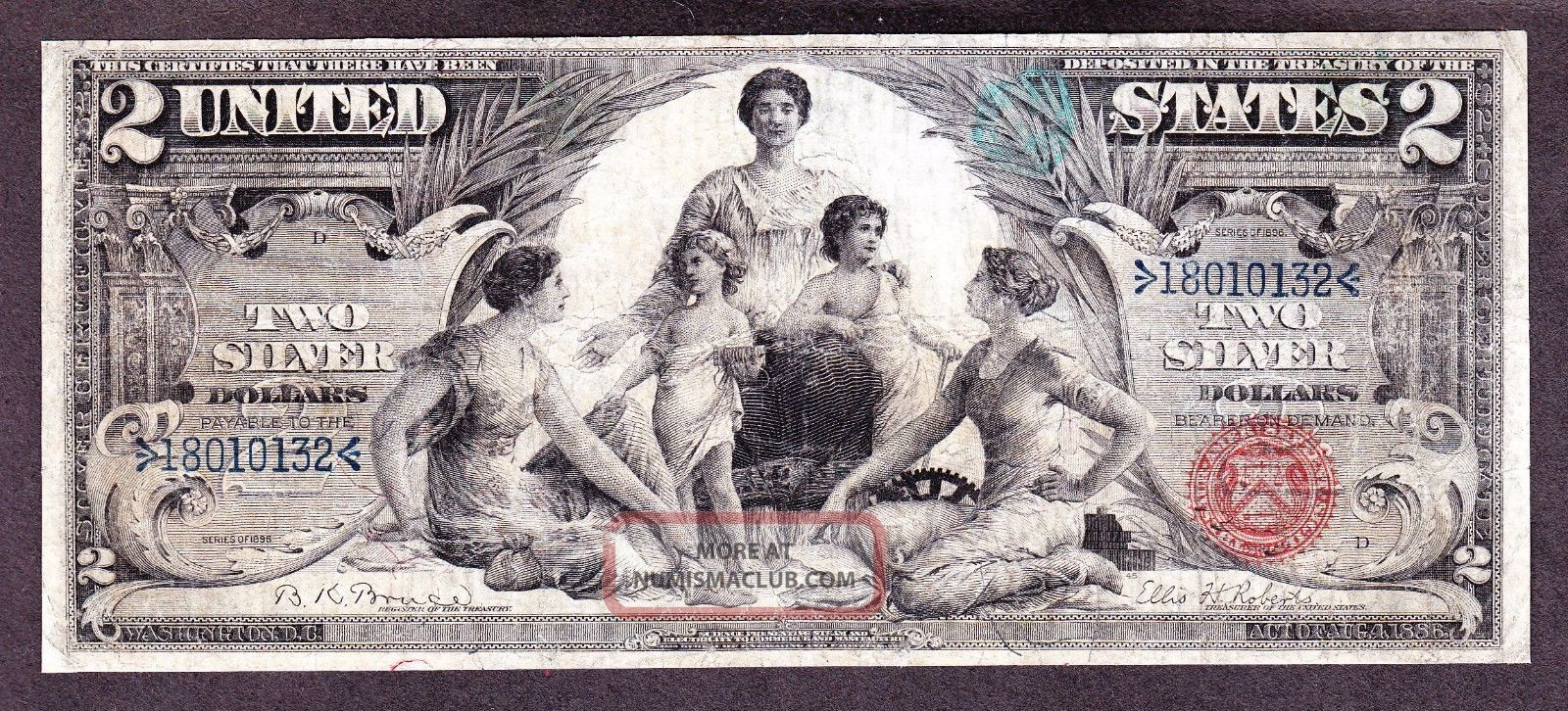 Us 1896 $2 Education Silver Certificate Fr 248 F - Vf (- 132) Large Size Notes photo