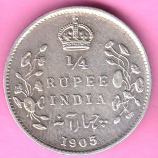British India - 1905 - 1/4 Rupee - King Edward Vii - Rarest Silver Coin - 22 photo