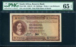 11 Sept1951 Gem Unc Pmg65 Epq South Africa Ten Tien Shillings Sjielings Pick 90b photo