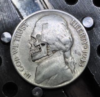102 1943 Wartime Silver Hobo Nickel Skull Hand Carved Engraved Coin By Jam photo