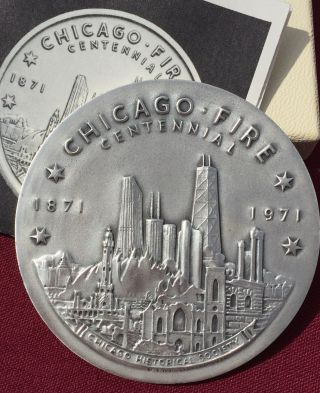 1871 - 1971 Chicago Fire Centennial Medallion.  999 Silver 4.  37 Troy Oz.  Box Paper photo