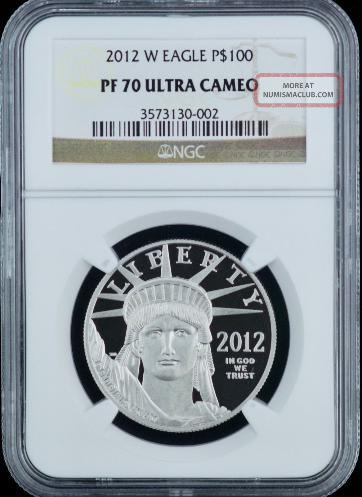 Ngc 2012 W Platinum Eagle P$100 Pf 70 Ultra Cameo One Ounce Hundred Dollar Coin Platinum photo