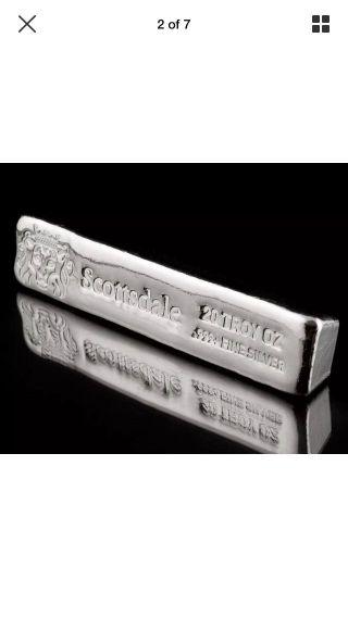 20 Oz.  999 Silver Bullion Long Cast Bar By Scottsdale A397 photo