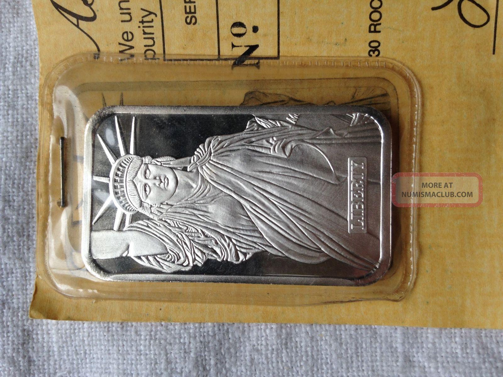 1982 Johnson Mathey 1 Oz Silver Bar Mtb Statue Of Liberty