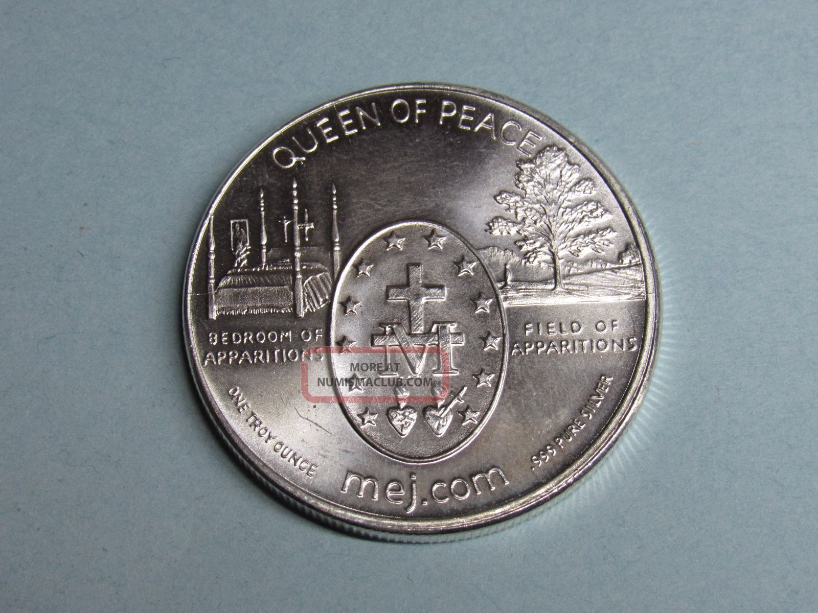 1 Troy Oz 999 Silver Art Round 2010 Queen Of Peace Cross