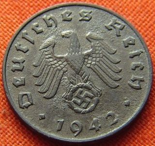 Ww2 German 1942 - B 1 Rp Reichspfennig 3rd Reich Zinc Nazi Coin (rl 1500) photo