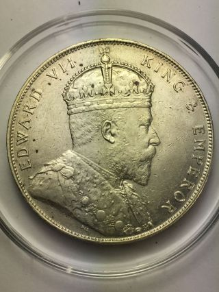 Edward Vii Straits Settlements Silver One Dollar photo