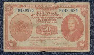 Netherlands Dutch East Indies Indonesia 50 Cents 1/2 Gulden 1943,  Circ. photo