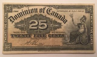 1900 Fractional Currency Dominion Of Canada 25 Cents Twenty Five Paper Bill photo