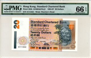 Standard Chartered Bank Hong Kong $20 1995 Fancy S/no.  S111222 Pmg 66epq photo