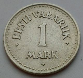 Estonia 1 Mark 1924.  Km 1a.  One Dollar Coin.  Kroon.  One Year Issue.  Ni - Bz. photo