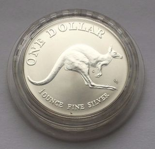 1993 Australian One Oz 999 Silver Kangaroo One Dollar Coin photo