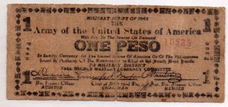 Philippines Ww2 7th Military District Issue S715 1 Peso Banknote On Paper Bag photo