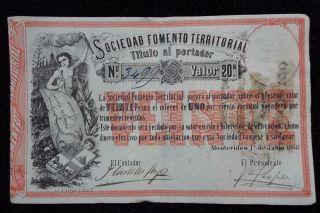 Uruguay 1868 - Sociedad Fomento Territorial 20 Pesos Banknote Pick 482 photo