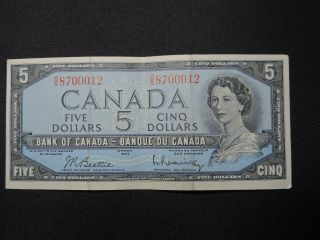 1954 $5 Dollar Bank Note Canada O/s8700012 Beattie - Rasminsky Modified Ef Grade photo