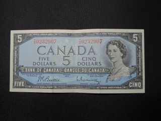 1954 $5 Dollar Bank Note Canada T/s0232907 Beattie - Rasminsky Modified Ef Grade photo
