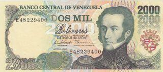 Venezuela 2,  000 Bolívares Banknote 6.  8.  1998 (pick 77c) Unc photo