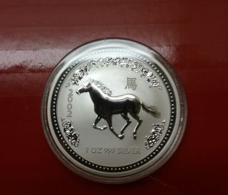 2002 Australia One Ounce Silver Year Of The Horse Coin (bu) photo