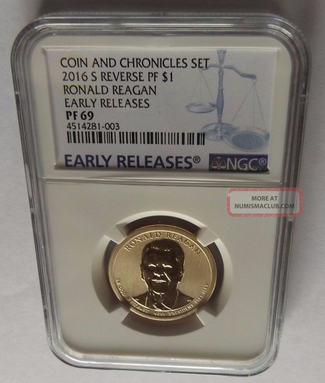 2016 - S Ngc Early Releases Pf69 Reverse Pf Ronald Reagan Coin And Chronicles $1 Dollars photo
