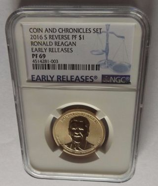 2016 - S Ngc Early Releases Pf69 Reverse Pf Ronald Reagan Coin And Chronicles $1 photo