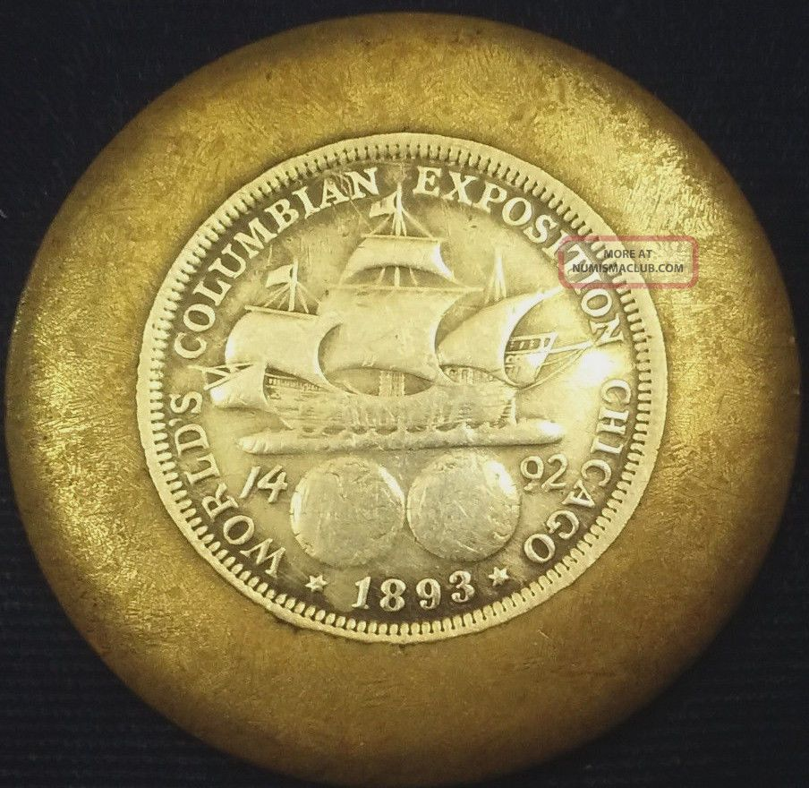 1893 Columbian Exposition Commemorative Silver Half Dollar In Brass Ring /bezel Commemorative photo
