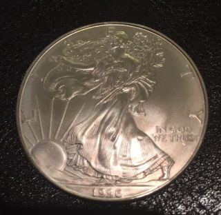 1996 American Silver Eagle 1 Oz One Dollar Coin Better Year Eagle photo