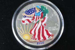 2000 Silver American Eagle 1 Oz Bullion Coin $1 Fine Silver 999 Colorized E307 photo