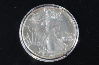 1987 Silver American Eagle 1 Oz Bullion Coin $1 Fine Silver 999 E304 photo