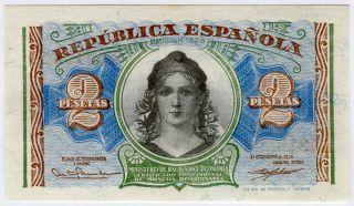 Spain 1938 Issue 2 Pesetas Banknote Crisp Unc. photo