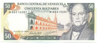 Venezuela Note 50 Bolivares 13.  10.  1998 Prefix W P 65g Unc photo