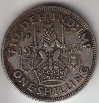 1937 Great Britain Silver Shilling,  Scottish Crest,  George Vi First Year,  Km - 854 photo