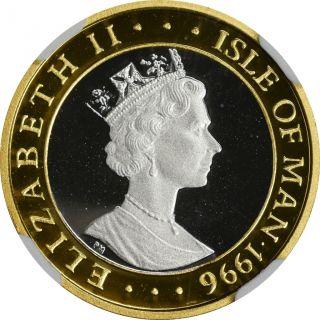 1996 Isle Of Man Ngc Pf - 69 Ultra Cameo 1/4c - Legend Of King Arthur - Gold Ring photo