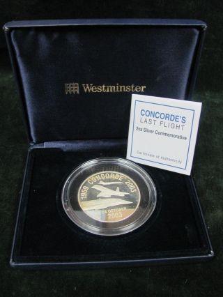 1969 - 2003 Concorde Last Flight 2 Oz Silver Round - Box And Certificate photo
