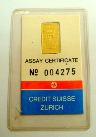 1 Gram 999.  9 Gold Credit Suisse Bullion Bar With Serial Number photo