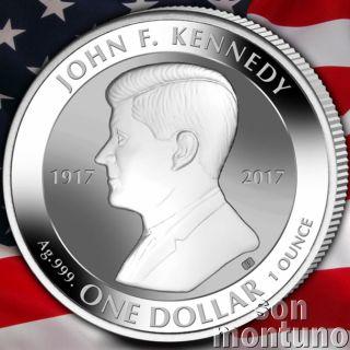 John F Kennedy - 1 Oz Silver Coin Reverse Proof - 2017 British Virgin Islands $1 photo