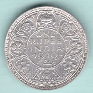British India - 1940 - King George Vi Emperor - One Rupee - Rare Coin photo