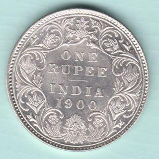 British India - 1900 - Victoria Empress - One Rupee - Rarest Silver Coin photo