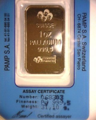 Pamp Suise 1oz Palladium Bullion Bar photo