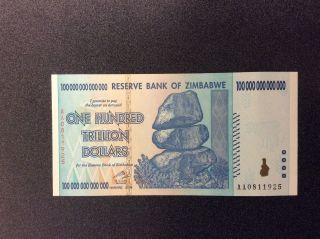 Zimbabwe 100 Trillion Dollar Bank Note,  Uncirculated,  2008 Series Aa,  P91 photo