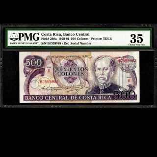 Costa Rica 500 Colones 1979 Red Serial Number Pmg 35 Choice Very Fine P - 249a photo