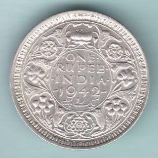 British India - 1942 - King George Vi Emperor - One Rupee - Rare Silver Coin photo