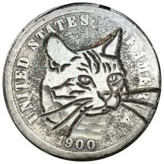 Coin Art Hobo Nickel Silver Dime Cat 132 photo