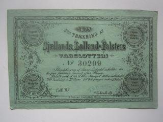 1877 Denmark Lottery Ticket photo