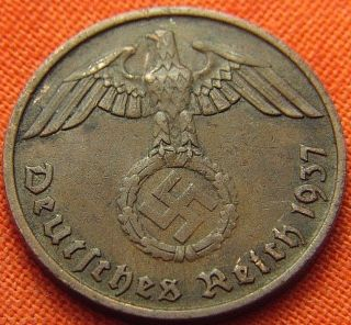 Ww2 German 1937 - A 2 Rp Reichspfennig 3rd Reich Bronze Nazi Coin (rl 1636) photo