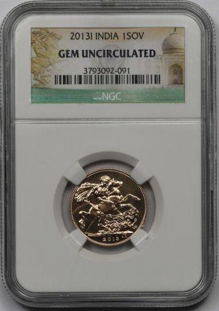2013i India Gold 1 Sovereign 1sov Gem Uncirculated Ngc photo