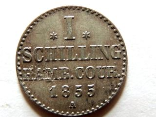 1855 - A German - Hamburg One (1) Schilling Silver Coin photo