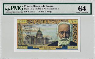 1959 - 65 5 Nouveaux Francs France Banknote Pmg 64 Choice Uncirculated photo