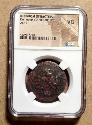 Bactria Demetrios I Copper Tri - Chalkon / Triple Unit C.  200 - 185 Bce Elephant Ngc photo